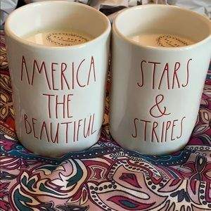 NWT Rae Dunn set of two patriotic candles
